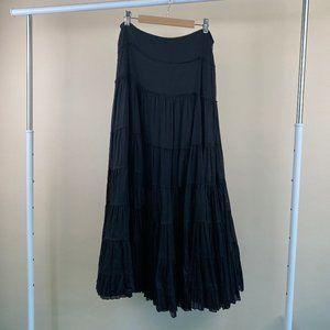 ZARA TRF Black Tiered Pleated Maxi Skirt -Sz Small
